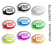 Vector best choice oval bubbles with gesture hand - stock vector