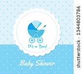 baby arrival announcement card  ... | Shutterstock .eps vector #1344803786