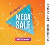 mega sale banner with modern... | Shutterstock .eps vector #1344804596