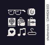 pixel art 1 bit icon set ...   Shutterstock .eps vector #1344826103