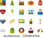 color flat icon set   easter... | Shutterstock .eps vector #1344855563