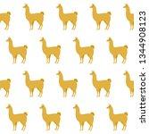 abstract paper cut yellow llama ... | Shutterstock .eps vector #1344908123