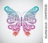 decoration butterfly rainbow... | Shutterstock .eps vector #134492030