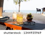lemon and honey drink with... | Shutterstock . vector #1344935969