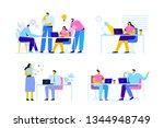 people work in office  business ... | Shutterstock .eps vector #1344948749