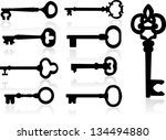 old key silhouette set | Shutterstock .eps vector #134494880