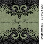 damask green invitation card   Shutterstock .eps vector #134495120