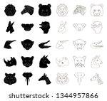 wild animal black outline icons ... | Shutterstock .eps vector #1344957866
