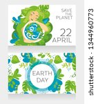 two cards  for earth day with... | Shutterstock .eps vector #1344960773