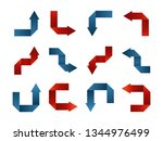 origami arrow blue and red on... | Shutterstock .eps vector #1344976499