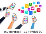 mobile apps concept with media... | Shutterstock .eps vector #1344980930