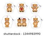 collection of cute cartoon... | Shutterstock .eps vector #1344983990