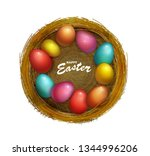 happy easter holiday with... | Shutterstock .eps vector #1344996206