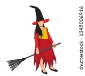 girl with broom and hat | Shutterstock .eps vector #1345006916
