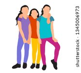 girls are embracing | Shutterstock .eps vector #1345006973