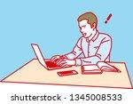 man working on a laptop... | Shutterstock .eps vector #1345008533