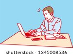 man working with laptop ... | Shutterstock .eps vector #1345008536