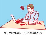man working with laptop ... | Shutterstock .eps vector #1345008539