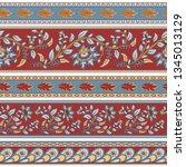 set of seamless decorative... | Shutterstock .eps vector #1345013129
