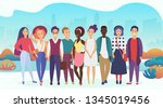 group of happy people or... | Shutterstock . vector #1345019456
