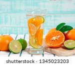 summer refreshing drink  citrus ... | Shutterstock . vector #1345023203