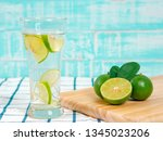 summer refreshing drink  citrus ... | Shutterstock . vector #1345023206