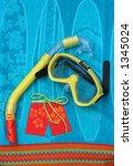 goggles snorkel swim trunks on...   Shutterstock . vector #1345024