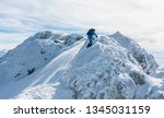 the man's entrance to the snow... | Shutterstock . vector #1345031159