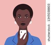 portrait of an african woman... | Shutterstock .eps vector #1345038803