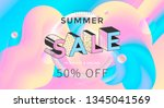 summer sale banner with pastel... | Shutterstock .eps vector #1345041569