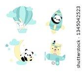 vector set of illustrations for ... | Shutterstock .eps vector #1345042523
