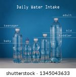 set of bottles with water over... | Shutterstock . vector #1345043633