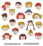 set of smiley children faces....