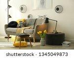 stylish living room interior... | Shutterstock . vector #1345049873