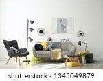 stylish living room interior... | Shutterstock . vector #1345049879