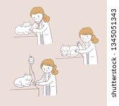 cartoon cute cat and animal... | Shutterstock .eps vector #1345051343
