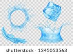 translucent ice cube  splash... | Shutterstock .eps vector #1345053563
