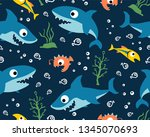 seamless pattern vector with... | Shutterstock .eps vector #1345070693