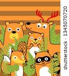 herd of funny cartoon animals  | Shutterstock .eps vector #1345070720