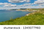 south west coast path with a... | Shutterstock . vector #1345077983