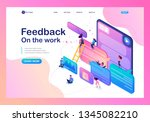 isometric bright concept users... | Shutterstock .eps vector #1345082210