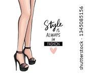 vector girl in high heels....   Shutterstock .eps vector #1345085156