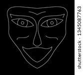 cartoon face. contour face...   Shutterstock .eps vector #1345087763