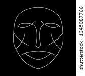 cartoon face. contour face...   Shutterstock .eps vector #1345087766