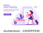 flight tickets online booking... | Shutterstock .eps vector #1345095530
