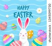 happy easter card vector... | Shutterstock .eps vector #1345099730