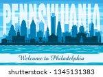 philadelphia pennsylvania city... | Shutterstock .eps vector #1345131383