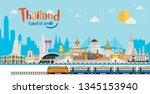 thailand land of smile. bangkok ... | Shutterstock .eps vector #1345153940