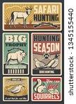 hunting season  feathered birds ... | Shutterstock .eps vector #1345155440