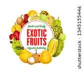 exotic fruits banner  organic...   Shutterstock .eps vector #1345155446
